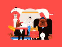 Good Boys Club dachshund bulldog shiba poodle pupperino pupper dog doggos dogs character flat character design illustration 2d