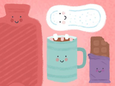 Monthly Survival Kit characters cute towels chocolate monthlygift product sanitary editorial illustration period periods