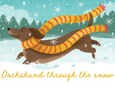 Dachschund through the snow... dachshund dog pet snow teal texture illustration gift xmas cards christmas sausage dog