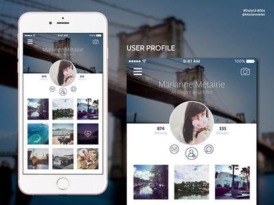 #DailyUI 006 - User Profile photography userprofile user dailyui ui design app