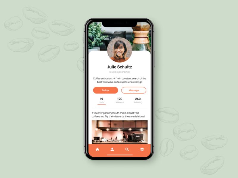 User Profile - DailyUI 006 design socialmedia social app app coffee dailyui006 appdesign ui dailyui