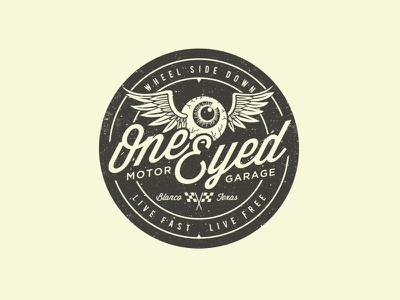 One Eyed Motor Garage hot rod garage badge logo