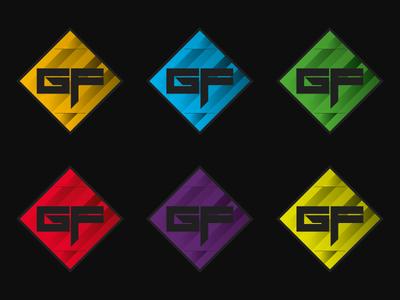 GF Colored logo colors gaming gf multicolor