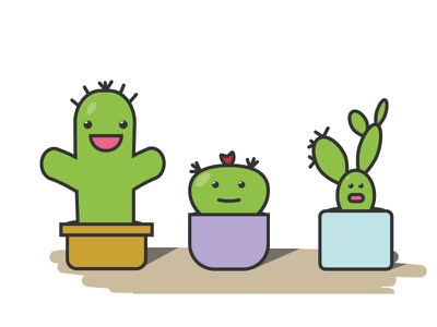 Proposed Characters for a language game for children. happy children kids colorfull flat cactus