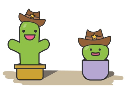 Character with hat sherrif cowboy kids happy flat colorful children cactus