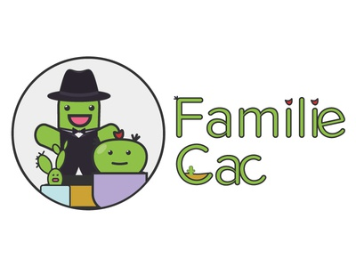 Logo for the game with the cacti fun joy family colorful kids happy flat children cactus
