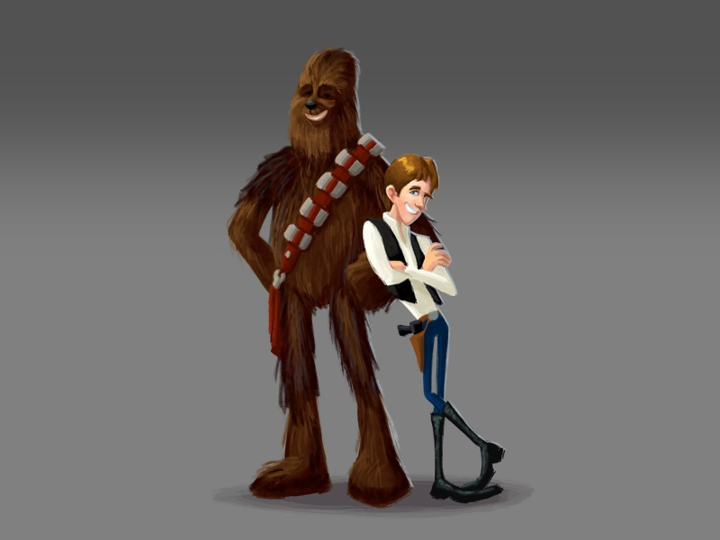Han & Chewie han solo chewbacca chewie star wars fan art