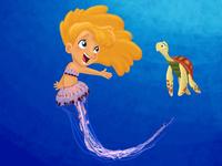 Jellyfish mermaid and her sea turtle sidekick