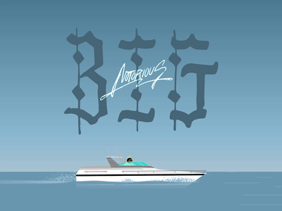Biggie biggie hiphop rap sea speed water rip notorious b.i.g. yacht boat character typography after aniamtion 2d animation loop ae gif