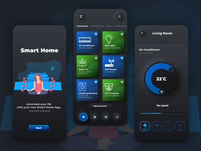 (Freebie) Smart Home Automation App using Neumorphism 2020 trend freebies ux 2020 design free download illustration ui sketch home automation smart home dark mode dark app figma mockup download free freebie 2020 2020 trends