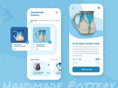 Handmade Pottery : Ecommerce App uiux ux app design ui design product design mobile app mobile ui mobile app 2020 illustration figma sketch ui xd buy online shop 2020 trends ecommerce