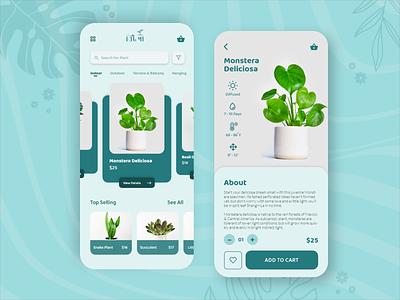Bitopi : Plant Ecommerce App product design 2020 sketch ux mobile ui mobile app illustraion plant online shop shop logo free download design xd buy ecommerce app design app ui 2020 trends