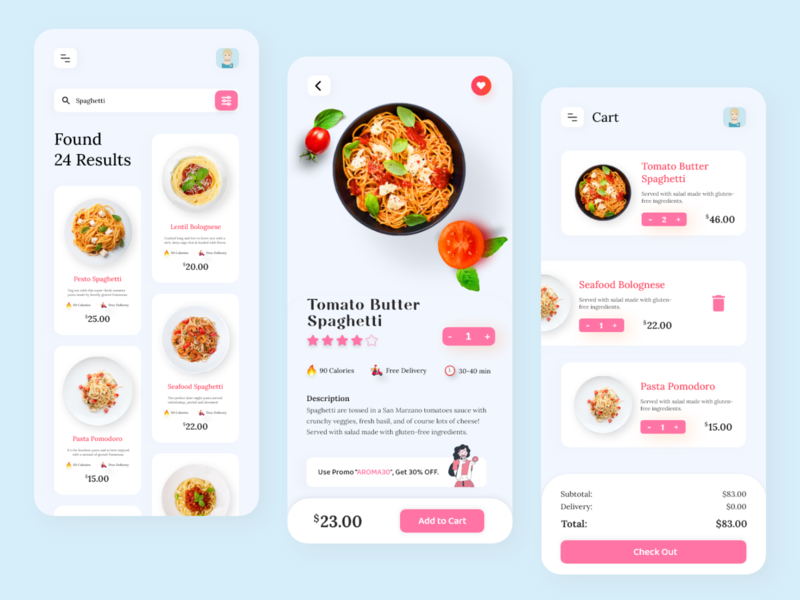 Food Delivery App xd ui design restaurant food delivery app delivery app product design ecommerce 2020 trends mobile ui app pasta food delivery food app food