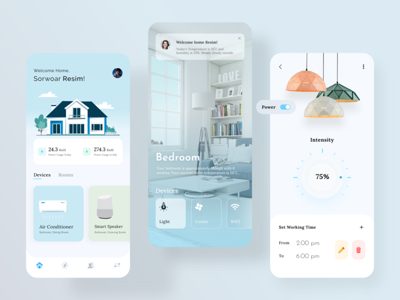 Smart Home Mobile App ios app ui 2020 trends illustration xd branding creative real estate minimal house home ios app design app design smart home home automation