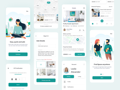 Nest - Property Rental App minimal mobile app house rent booking app real state app real state property rental home rental property house rent rental home booking