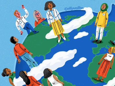 People around the world world globe map magazine editorial illustration