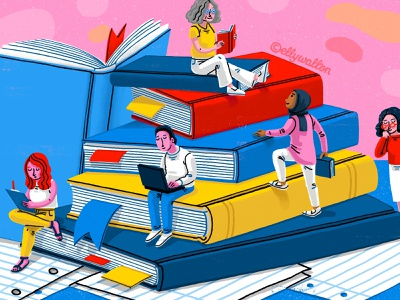 Lifelong Learning age diversity books learning magazine editorial illustration