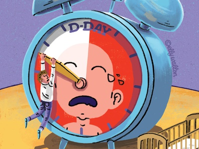Editorial illustration alarm clock baby magazine editorial illustration