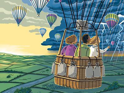 Editorial illustration illustration digital conceptual magazine editorial illustration hot air balloon