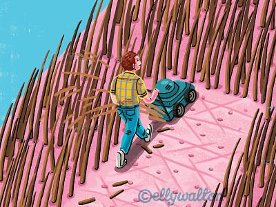 Editorial illustration fun lawnmower haircut magazine editorial illustration