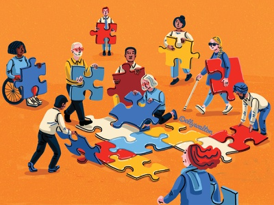 Building together working together quirky illustration website illustration magazine illustration editorial illustration jigsaw magazine editorial illustration