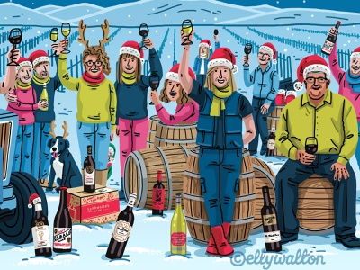 Laithwaites Wines Christmas Postcard fun portraits celebration wine festive christmas advertising illustration illustration