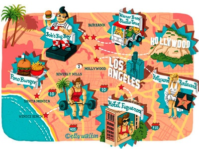 Map Of America Hollywood.Illustrated Map Of La By Elly Walton On Dribbble