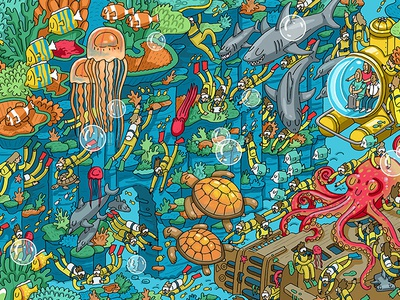 Nestle: Find Koko in the Barrier Reef detail wheres wally puzzle fun quirky competition illustration