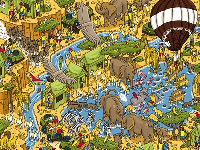 Nestle: Find Koko in the Serengeti detailed wheres wally fun quirky detail competition map illustration
