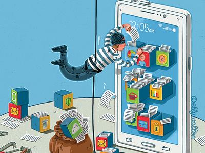 Magazine cover: cyber crime illustration art cyber attack data theft burglar illustrator phone cyber crime editorial illustration magazine illustration illustration
