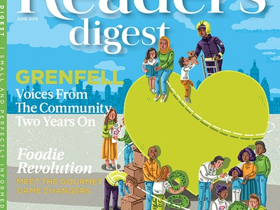 Reader's Digest June cover illustrated cover quirky people illustration london community grenfell tower editorial art magazine illustration editorial illustration illustration