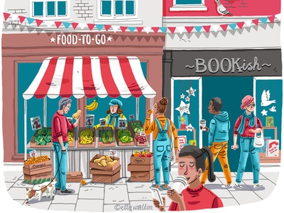 Shoppers on the high street characters illustrator leisure shopping magazine illustration editorial editorial illustration illustration