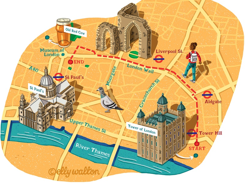 London Walk Map map drawing maps map illustrator art cartography map illustration illustrator magazine editorial illustration