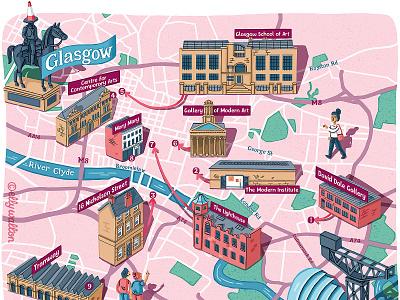 Glasgow art trail map art map illustrator map artist cartography illustrated maps illustrated map maps map map illustration editorial illustration magazine illustration magazine editorial illustration