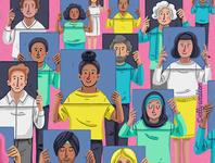 "Illustration for website ""about us"" page diverse group multi racial diversity design illustrator art characters faces web illustration website illustration illustrator illustration"