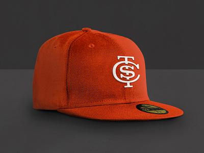 STC Hat baseball cuts shadows stitching monogram mock-up orange hat