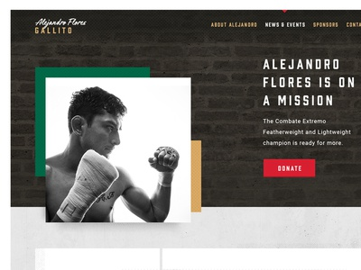 FighterGo Round 2 mexico black and white white space clean black white texture rough ui website design mma mixed martial arts theme template boxes floating exploding concrete gold green