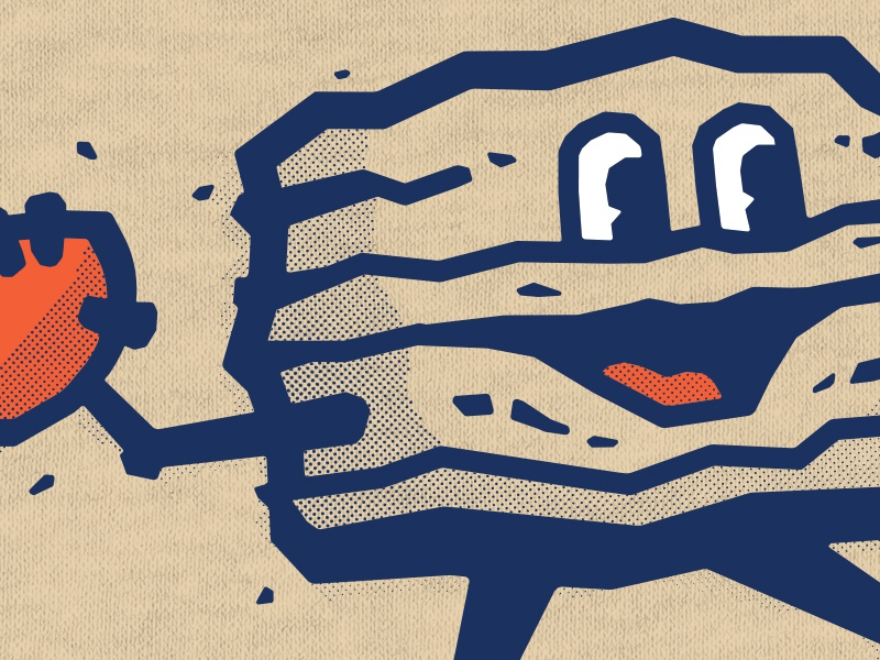 Mr. Biscuit threadland apparel chicago bears screenprint rough biscuit trubisky mitch t-shirt shirt throwing football vintage character orange blue halftone texture nfl