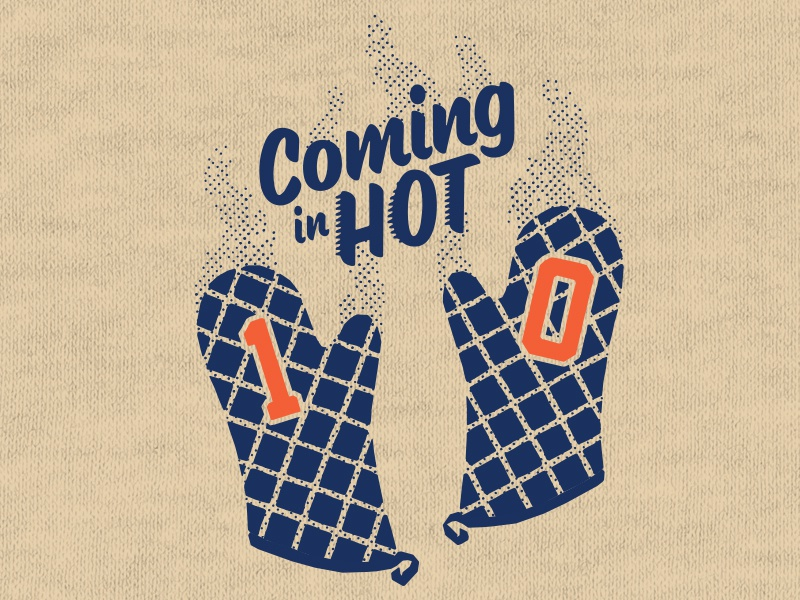 Coming In Hot character threadland apparel screenprint steam hot oven mitts t-shirt shirt halftone bears football nfl illustration vintage orange blue texture rough logo