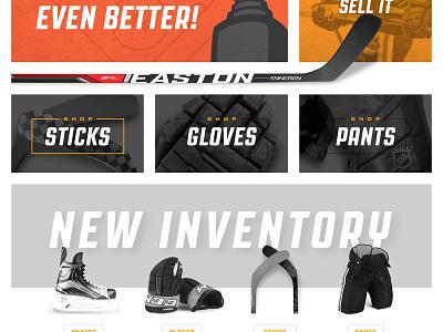 Hockey Home e-commerce ecommerce black orange bold cropped grid easton stx warrior reebok bauer ccm nhl hockey stick hockey shadows clean white space white