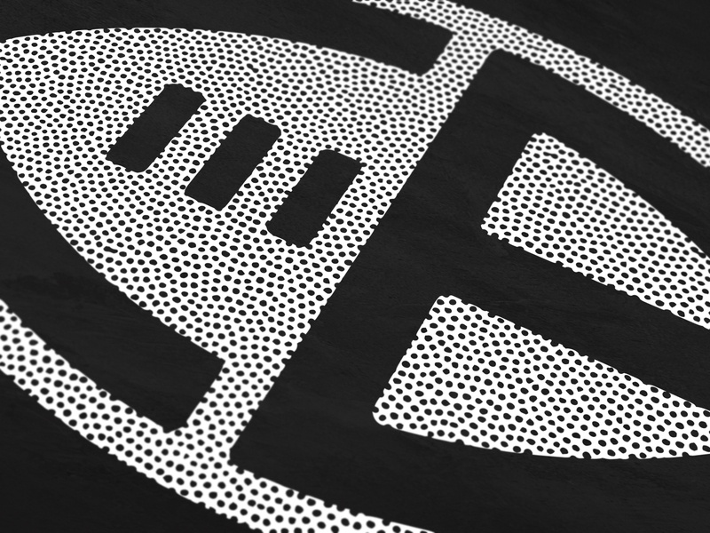 Chicago Bears (C + B + Football) blackandwhite cb dots leather negativespace texture pigskin monogram bears lettering logo mark symbol chi chicago nfl football beardown dabears chicagobears