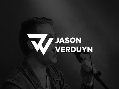 JV triangle geometric white black logo icon branding
