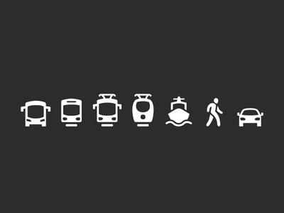 Public transport Icons public transport travel icon