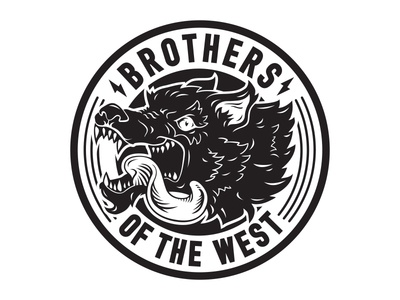 Brothers of the West pack wolf west brand design logo