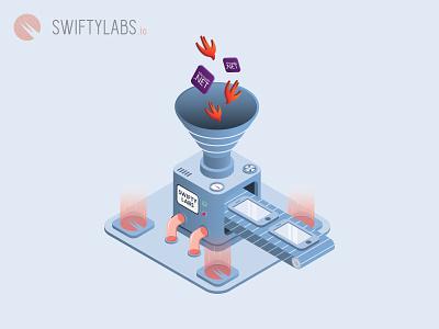 App factory phone mobile website product line .net swift labs swifty production product factory icon vector branding illustration design ios