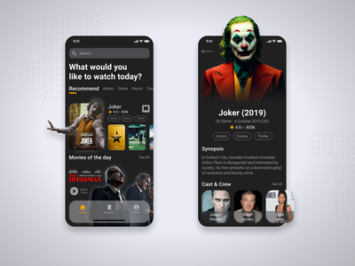 Movie app dark theme dark mode dark app crew cast synopsis trailer movie poster joker movie joker imdb movie app movie branding uxdesign uidesign app ux ui ios