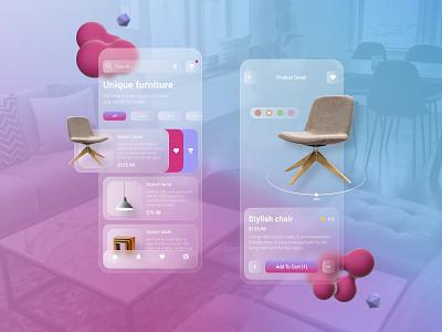 Furniture app graphic design branding furniture table lamp chair glassmorphism 3d design ios app application uxdesign uidesign ui ux