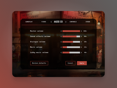 Daily UI #007 - Settings videogame game design daily ui app daily ui challenge figma dailyuichallenge dailyui ui