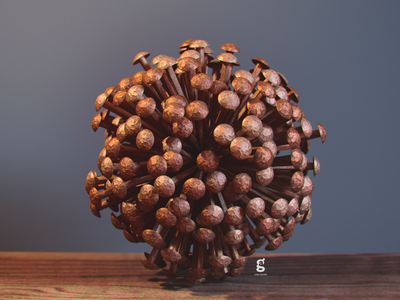 Day 63 - Mrs. Constancy - Iron Nail Sphere nail iron soy tico costa rica mrs. constancy everyday daily cgi 3d