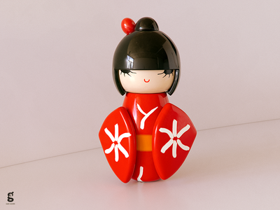 Day 86 - Mrs. Constancy -  Chinadoll toy red doll china soy tico costa rica mrs. constancy everyday daily cgi 3d